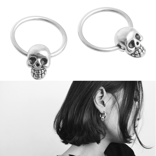 Skull Round Hoop Stud Earrings2