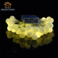 Free Shipping 3AA Battery Operated Blink String Fairy Light With Beautiful Globe White Ball For Outdoor