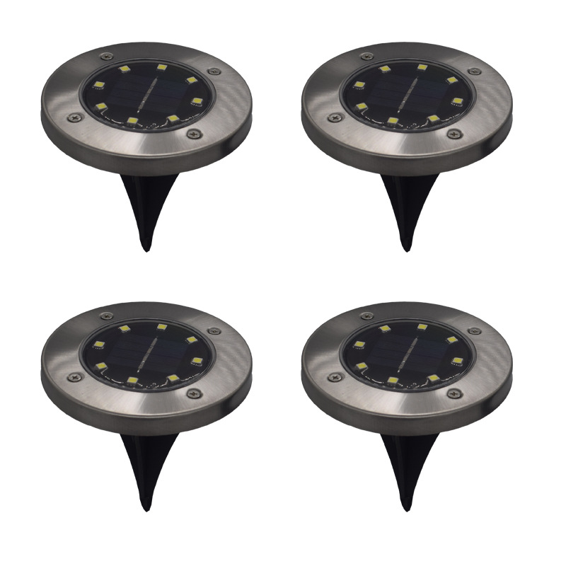 1PC New Waterproof Solar Powered LED Disk Lights Outdoor Garden Stair Lights