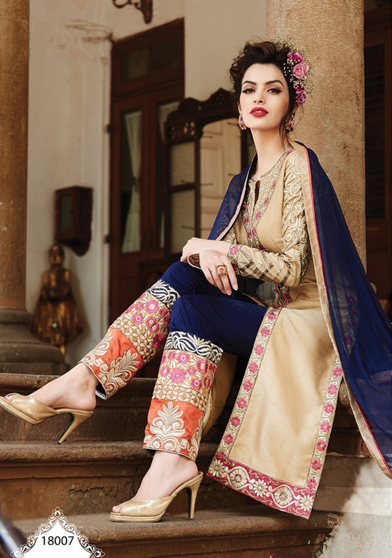 28d37c6c37 2015 Fashion Blue Beige Salwar Kameez Sets Embroidery Georgette Pakistan  Traditional Women Clothing Customized Salwar Suits-in India & Pakistan  Clothing ...