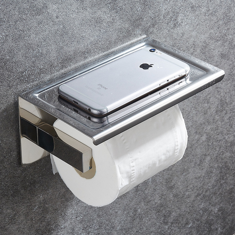 304 Stainless Steel Toilet Paper Holder With Shelf Wall Mounted Toilet Tissue Mobile Phone Roll Holder Bathroom Accessories-in Paper Holders from Home Improvement