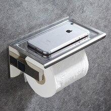 Portarrollos de papel higiénico de acero inoxidable 304, con estante, montado en la pared, para teléfono móvil, accesorios de baño