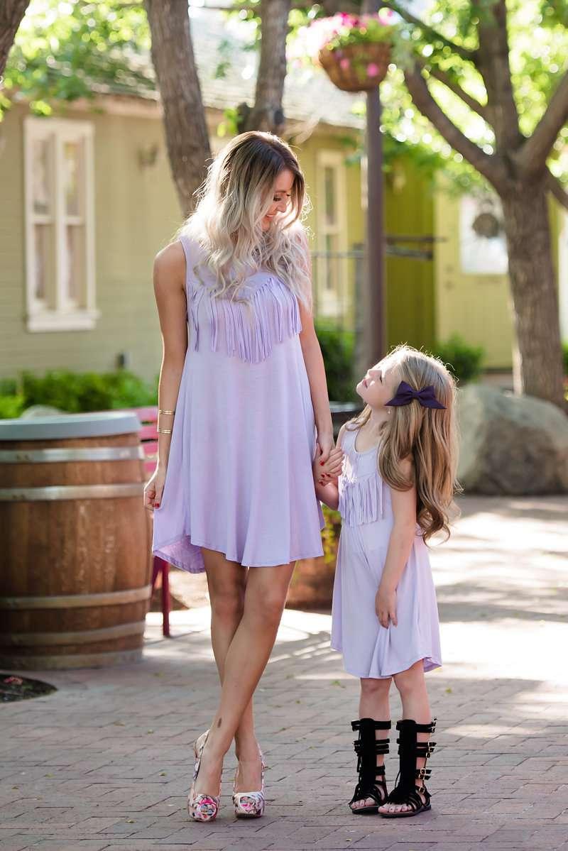 Mother And Daughter Tassel Dress Baby Girls Light Purple ...