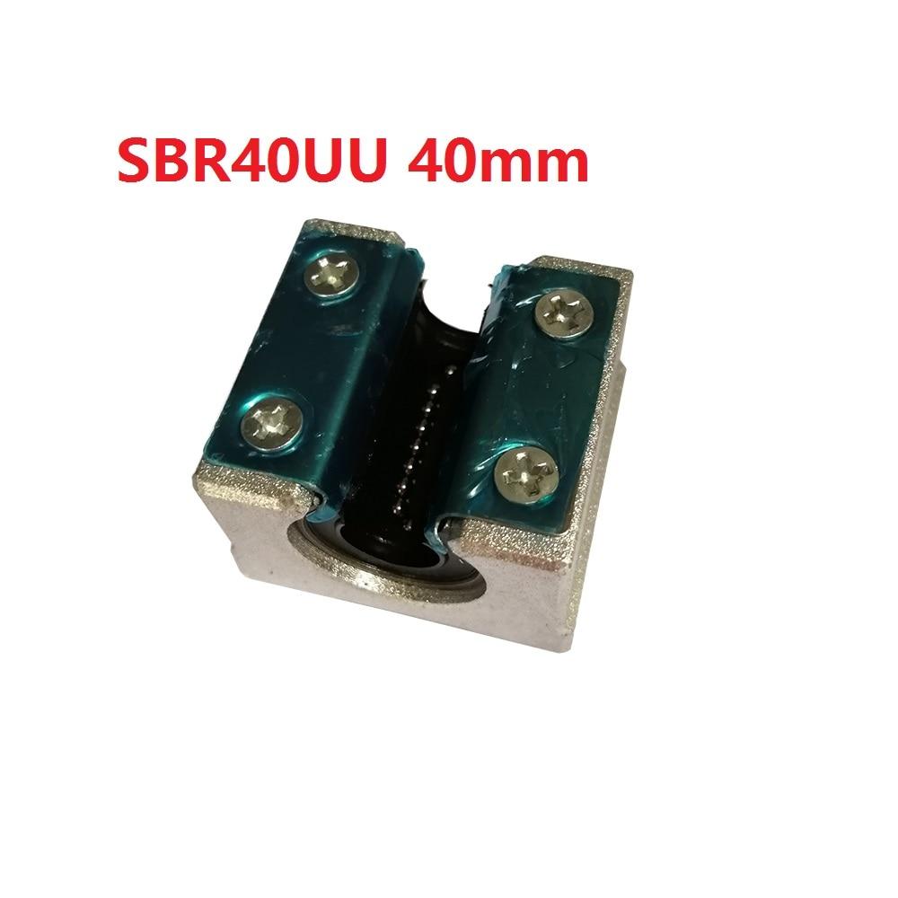 1PCS SBR40UU 40mm SBR40 Linear Motion Ball Bearing CNC Slide Bushing for linear shaft 3D printer parts axk sc8uu scs8uu slide unit block bearing steel linear motion ball bearing slide bushing shaft cnc router diy 3d printer parts