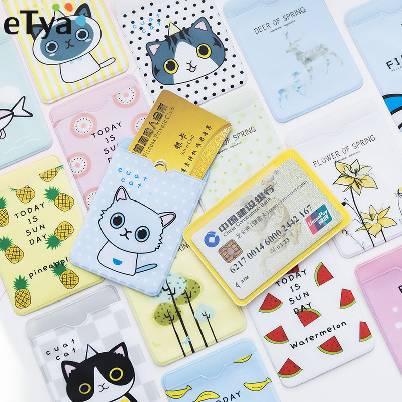 ETya 1PCS Cute Credit ID Card Holder Case Cartoon PVC  Bus Bank Credit Business ID Card Cover Badge Bag For Student Women