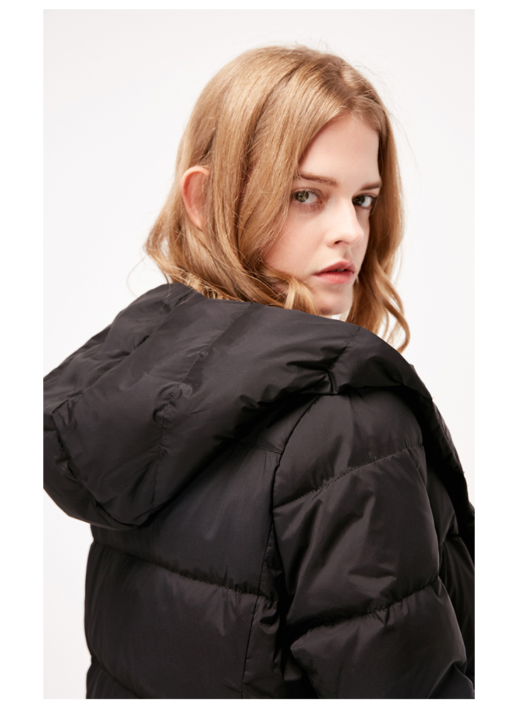 ONLY womens' winter new medium and long black down jacket Partial sill design Hooded collar|118312555 9