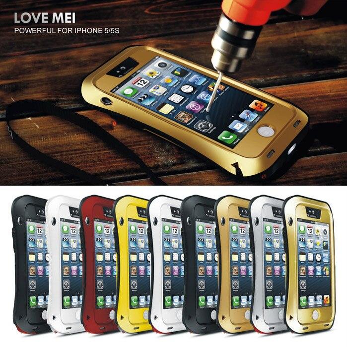 imágenes para Templado Gorilla Glass amor Mei prueba de Choques Impermeable Resistente Pequeña Cintura de Piel Cubierta de la Caja de Aluminio del Metal Para el iphone 5 5S Original