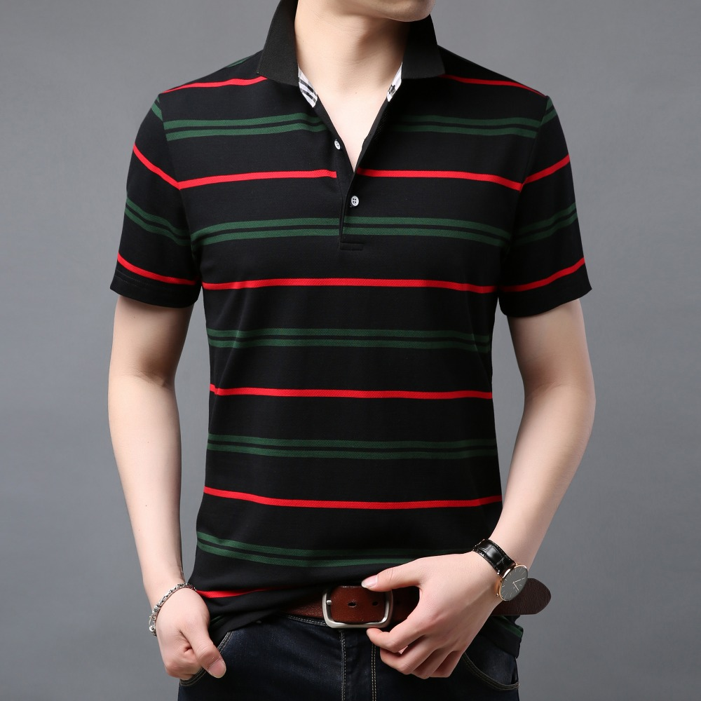 Striped Polo Shirt Men Cotton Breathable Great Quality Turn-down Collar Tops 2019 Summer Brand Business Short Sleeve Polos F1928