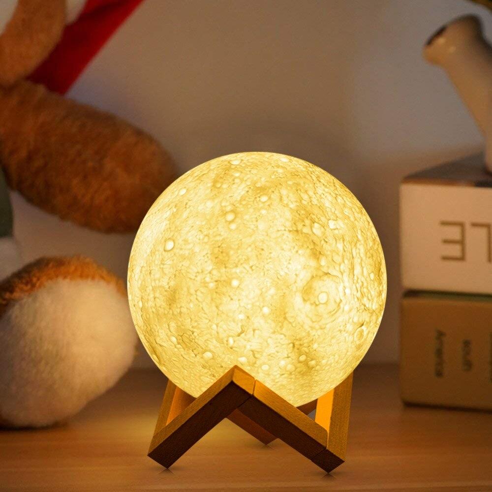 Mond FÜHRTE Nacht licht 3D Drucken Moonlight lampe 3 Farben Ändern Helligkeit Einstellen LED Tisch Schreibtisch lampe USB Lade Dekoration lampe