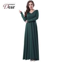 c1ba753cb2d30 Rj70343 comeondear katı uzun kollu kadın artı boyutu elbiseler v yaka  vintage kılıf vestidos kat-uzunluk yeşil moda elbiseler