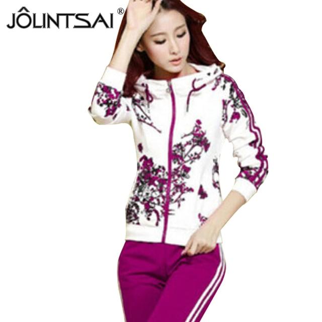 9f7d445582bd5 New 2016 Spring Autumn Cotton Casual suit women tracksuits 2 piece set women  high quality Plus