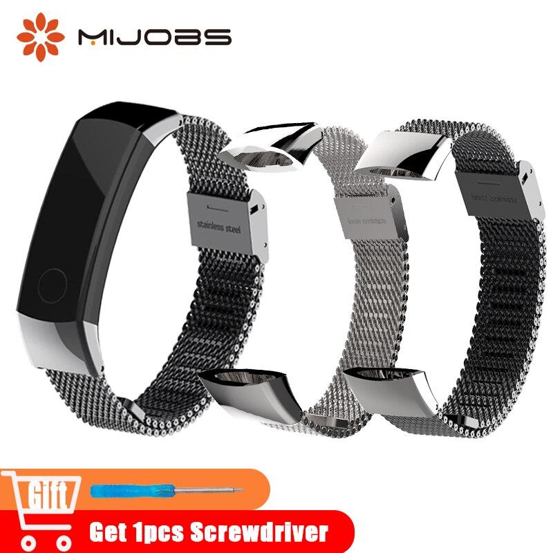 Mijobs Milanese correa de Metal 155-255mm pulsera de la venda del reloj pulseras de acero inoxidable para Huawei Honor 3 banda Smart accesorios