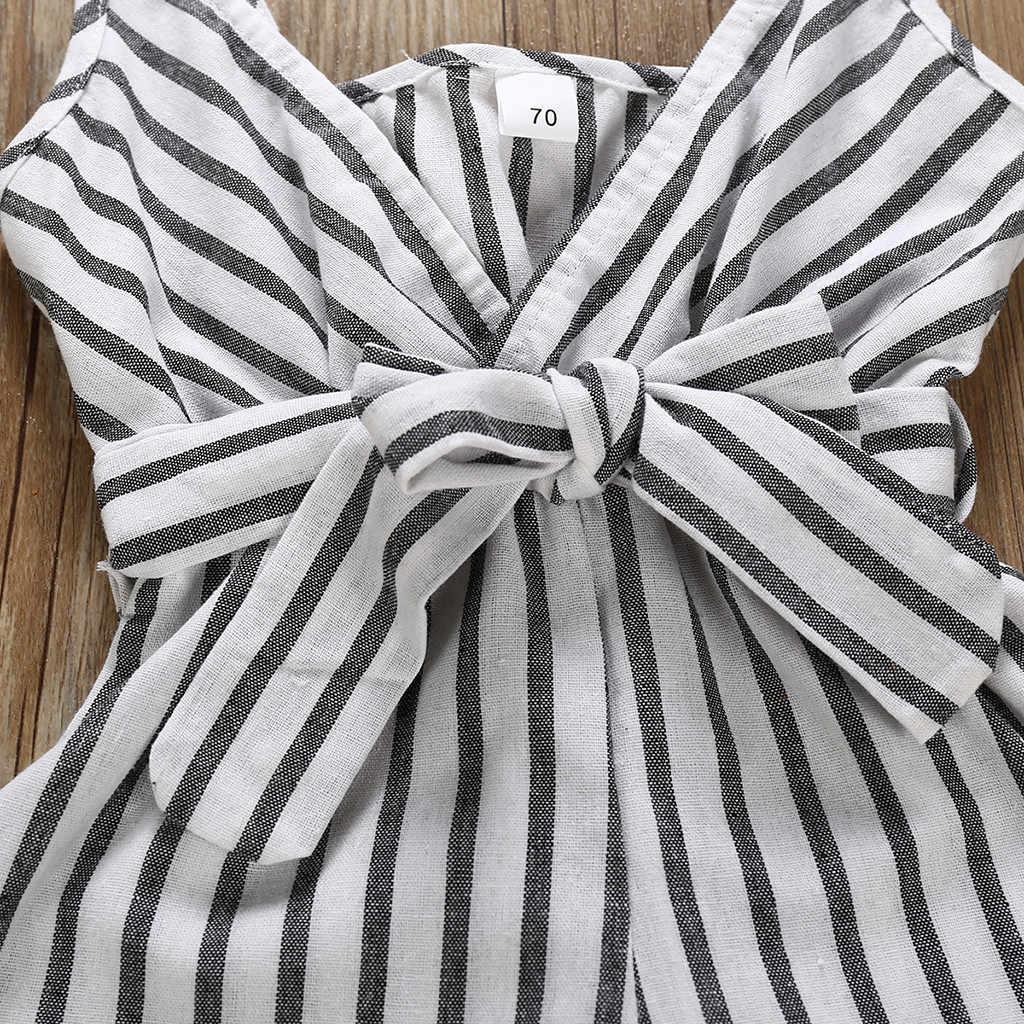 Muqgew для малышей для маленьких девочек одежда От 0 до 2 лет ремешок Черный и белый в полоску с бантом из ленты, комбинезон летняя одежда Одежда для младенцев