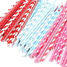 25PCS/Lot drinking paper straws for kids birthday party wedding christmas decoration chevron drinking paper straws(China)