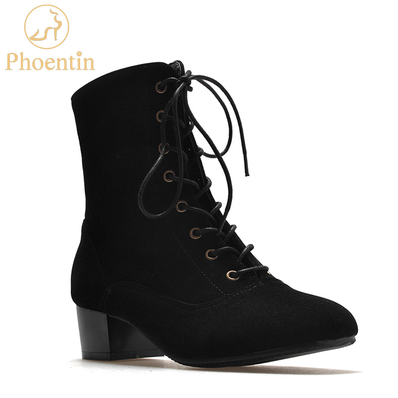 Phoentin lace up women boots black square toe mid height mid calf rubber boots women large size fashion woman shoes 2018 FT290 mid size
