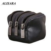 Alisara Triple Zipper Coin Purse Genuine Leather Women Coin Pouch Men Small Wallets 100% Top Cowhide Storage Bag Pocket Black