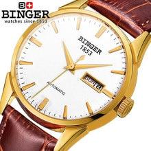 New arrival Binger watch men geneva fashion leather wristwatch dress luxury mans wrist watches male clocks Switzerland watches