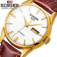 New arrival Binger watch men geneva fashion leather wristwatch dress luxury mans wrist watches male clocks
