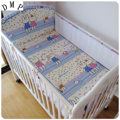 Promotion! 5PCS crib bumper Cotton Baby Bedding Set Cartoon Pattern Reactive Printing ba ...