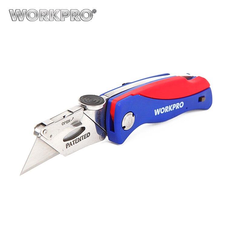 Workpro cuchillo plegable cortador electricista cable cortador Seguridad cuchillo herramienta de seguridad plástico mango del cuchillo con 5 Unid cuchillas