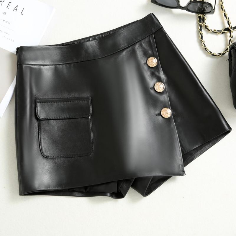 Streetwear Shorts Culottes Skirt Trousers Women Sexy Korean-Style Genuine-Leather Femme