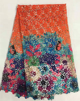 Hot Sale Colorful Flower Printing Water Soluble Lace Fabric With Beads For Wedding Fashion Multi Color