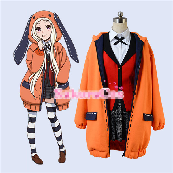 Kakegurui Figure Yomotsuki Runa JK School Girls Uniform +Hoodie Halloween Cosplay Costume Full Sets