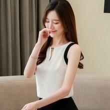 Korean Fashion Chiffon Women Blouses Solid Sleeveless White Shirts Plus Size XXL Womens Tops and ladies tops