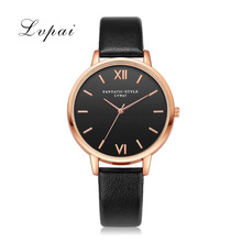2017 Lvpai Brand Leather Watches Women Casual Bracelet Classic Quartz Wristwatches Ladies Black Dial Sport Rose Dress Watch