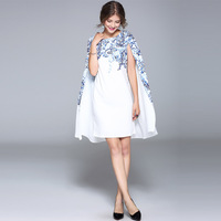 New arrival 2017 summer brand fashion women elegant cape sleeve dress floral print sexy white dresses