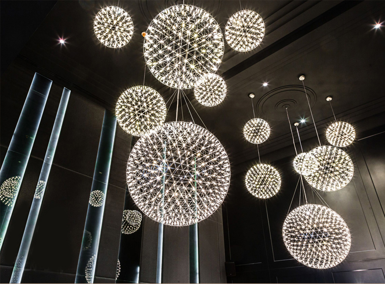 Gold/chrome stainless Steel Firework ball pendant light modern Ball hanging lighting for lobby/hotel/living roomGold/chrome stainless Steel Firework ball pendant light modern Ball hanging lighting for lobby/hotel/living room