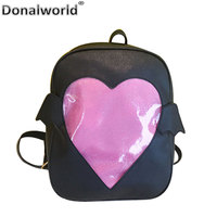 Donalworld Candy PU Leather Backpack Plastic Transparent Love Heart Shape Beach Girls School Bag Bat Softback Solid Backpacks