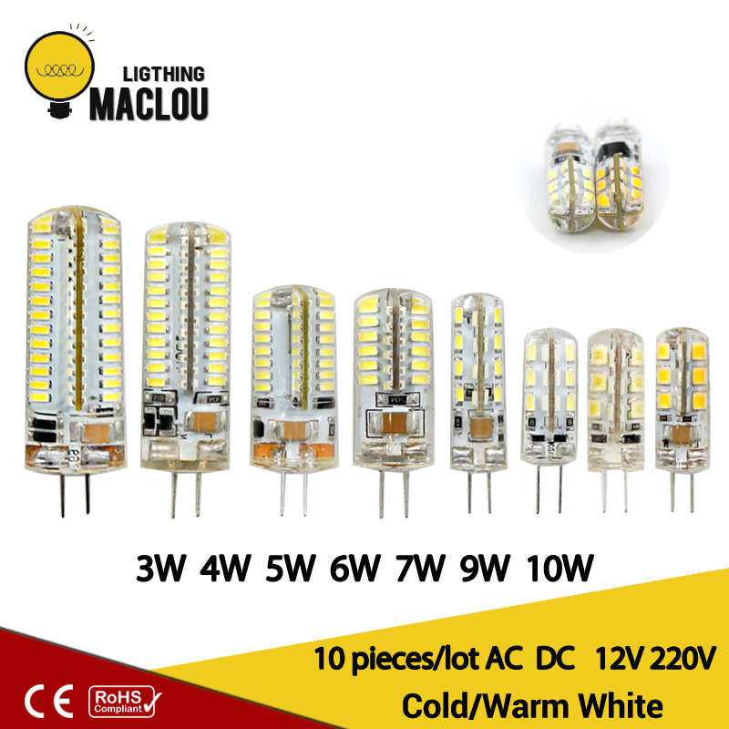 10pcs Led 220V G4 Lamp G4 Led Bulb Light AC DC 12V 10W 6W SMD 2835 3014 Spotlight 360 Beam Angle Replace For Crystal Chandelier iminovo 20 pack e14 led light bulb ac 220v 6w 2835 smd ceramics spotlight replace halogen spotlight chandelier warm cool white