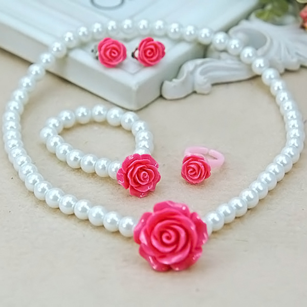 Kids Girls Child Pearl Flower Shape Necklace + Bracelet + Ring + Ear Clips Jewelry Set HSJ88