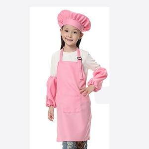 Image 3 - 子供エプロン子供たちは帽子ポケット幼稚園キッチンベーキング塗装調理ドリンク食品ランファン tablier delantal ロゴプリント