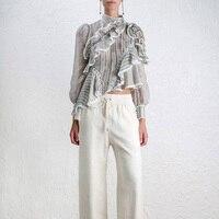 High Quality 2018 Spring Casual Stripe Patchwork Long Sleeve Off The Shoulder Top Ruffle Women Irregular Shirt