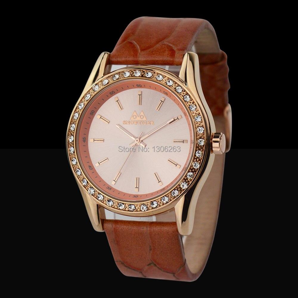 bf4357fad 5 اللون الماس المعصم الساعات المعدنية صديقة هدية حقيقية الجلود الفرقة  الكلاسيكية مصمم سيدة الفتاة الساعات الجلدية