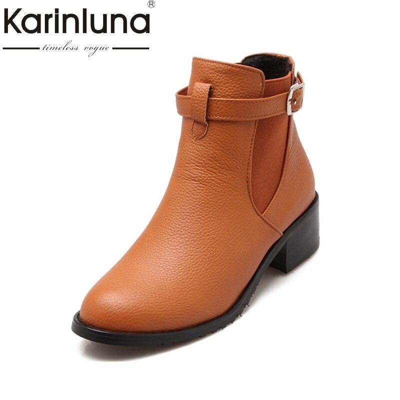 KARINLUNA Big size 34-43 Ankle Boots Square Heels Buckle Winter Autumn Women Shoes Woman Platform Motorcycle Chelsea Boots стоимость