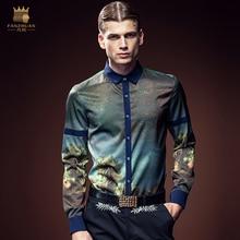 Free Shipping New man's male Europe fashion casual painting PRINTED SHIRT DP slim Metrosexual long sleeved shirt 2091 FanZhuan