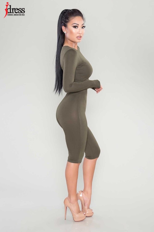IDress Women Two Piece Bodycon Jumpsuit Playsuit New 2016 Summer Knee Length Black Bodysuit Sexy Club Elegant Rompers Womens Jumpsuit