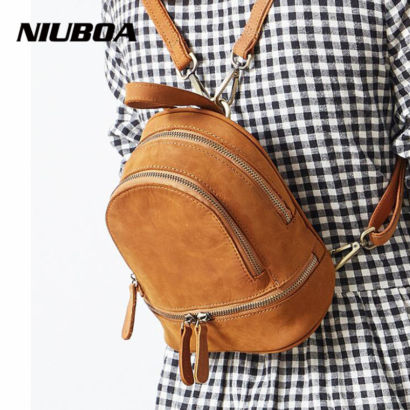 NIUBOA Backpack Genuine Leather Backpack Fashion Women's Small Bags College School Book Backpack for Teenager mochila feminina fashion new women students lovely canvas backpack college small cartoon print sathel multifunction travel bags mochila feminina