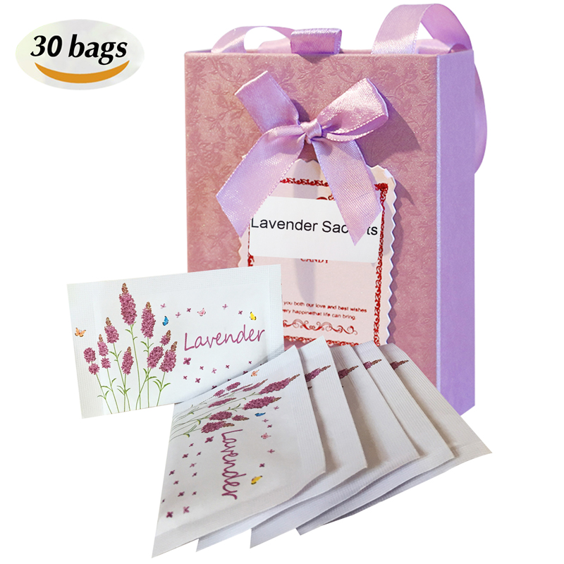 30 Packs Best Moth Repellent Lavender Sachets With Natural Senior Grains for Drawer and Clothes
