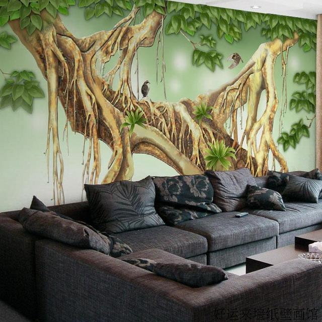 3D Banyan Tree Colorful Carving TV Background Wall Mural Wallpaper For Living Room Bedroom Decoration