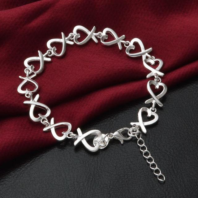 Pulsera 925 de la joyería de plata chapada Pulsera Joyería de Moda Líder Hebilla Camarones 21 CM Cadena Envío Libre S186