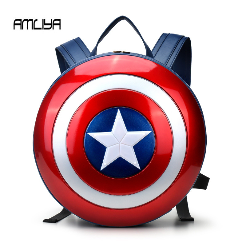 Fashion The Captain America shield backpack Small bule Backpacks Special personality Women Bags American film Character bag victorian america and the civil war