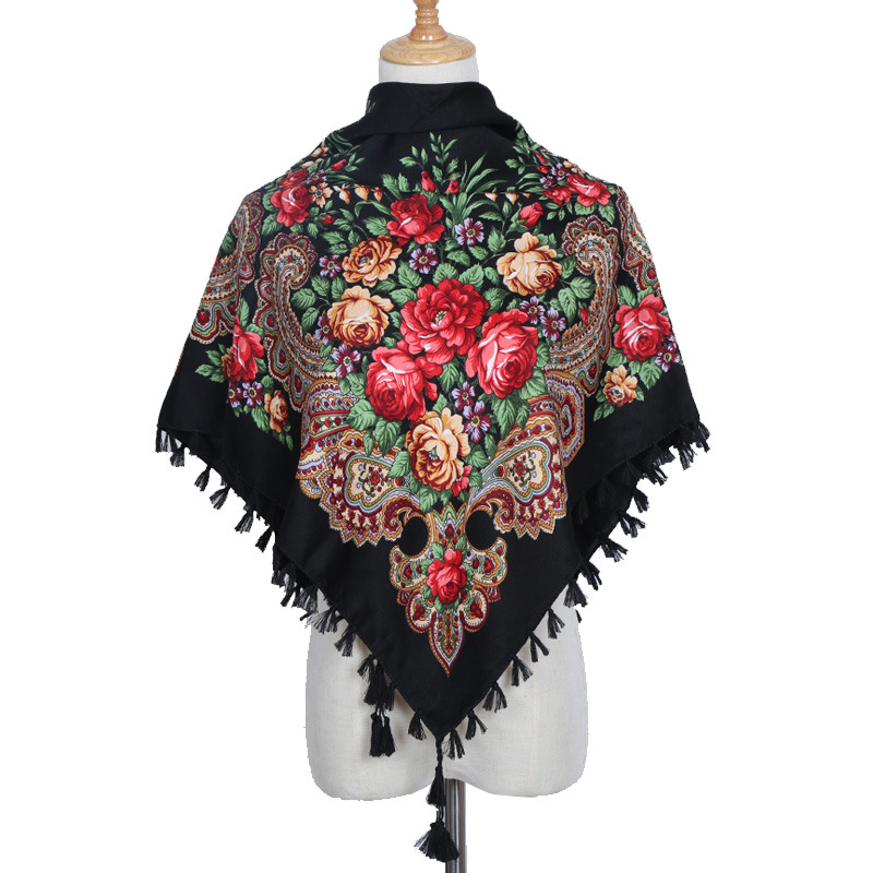 Russia Luxury Brand Women Square Decorative Scarf Handmade Tassel Flower Design Female Scarves Blanket Shawl Handkerchief Lic