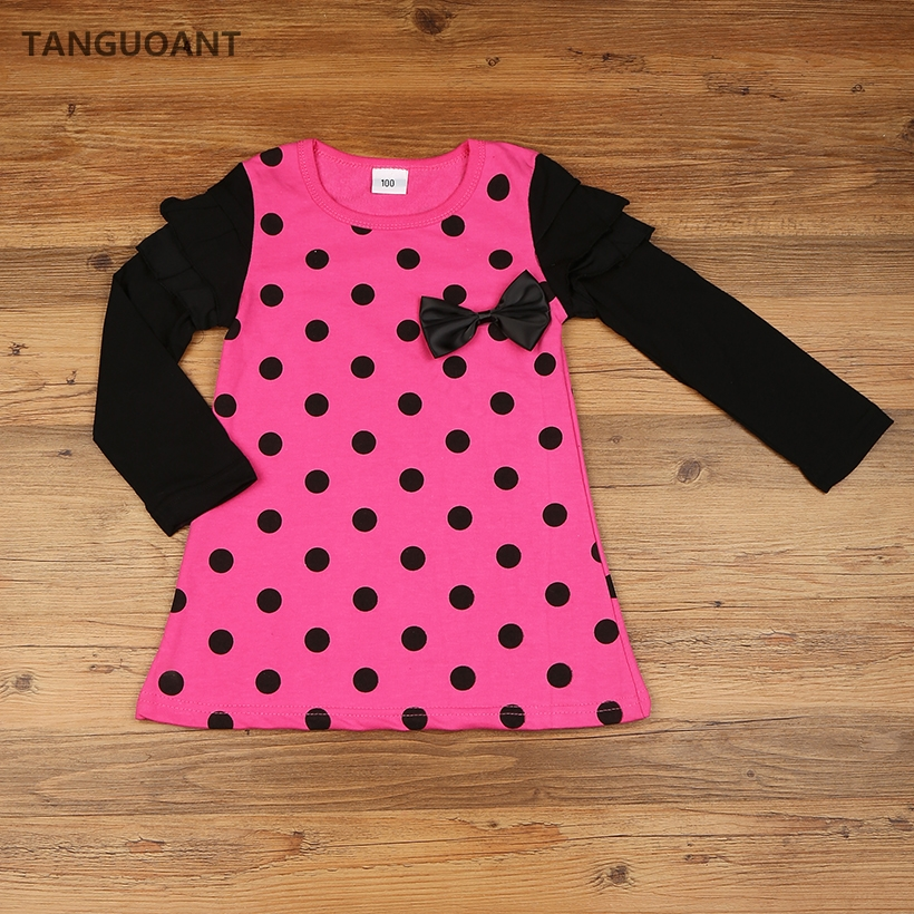 TANGUOANT Hot Sale autumn and spring children clothing girls polka dot dress long-sleeve kids girls princess dress polka dot slit hem contrast dress