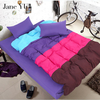 High Density Simple Cotton Color Matching 4pcs Bedding Sets Double Single Duvet Covers Twin Full Queen
