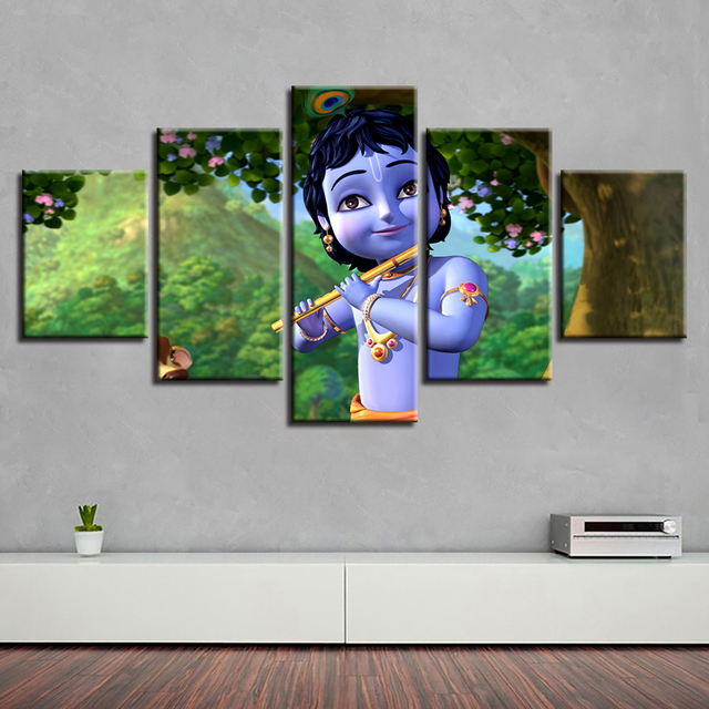 US $5 84 40% OFF|Frame HD Printed Modern Living Room 5 Panel India God  Radha Krishna Painting Wall Art Modular Poster Home Decor Canvas Pictures  -in