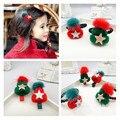 4 UNIDS Chica Encantadora Niños Pinza de Pelo Anillo de Pelo de Las Muchachas de Regalo de Navidad Sombrero de Navidad Verde Roja Estrella Kids Hair Accressories